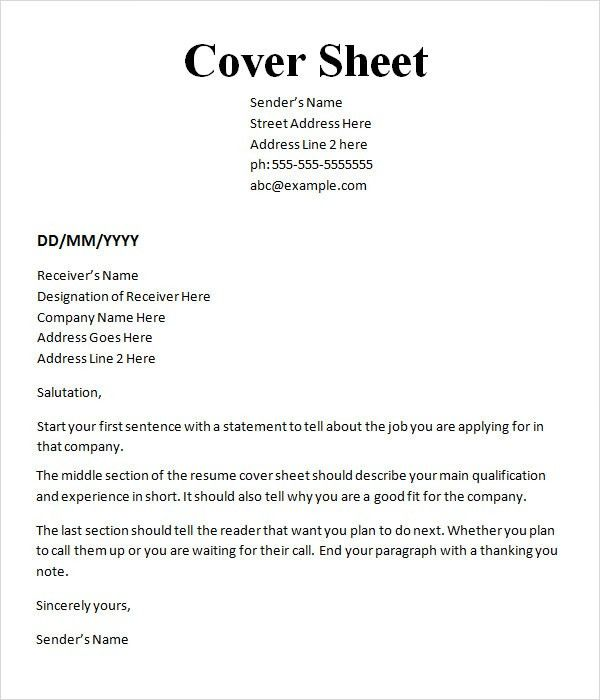 Sample Cover Sheet Template - 9+ Free Documents Download in Word, PDF