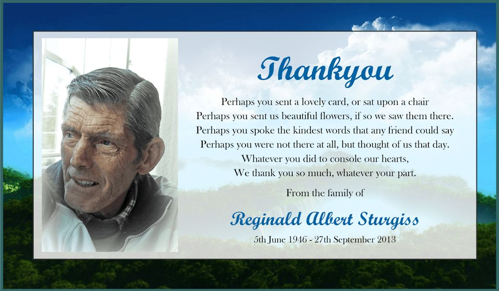 Thank You Card: Samples Funeral Thank You Cards To Order Wording ...