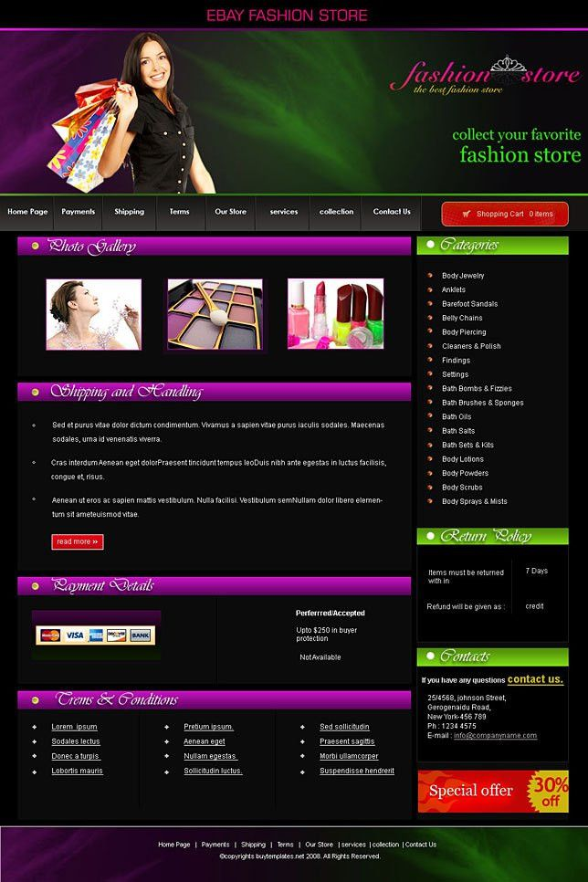 Ebay templates for fashion stores