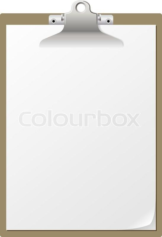 Blank paper on clipboard isolated on white background. | Stock ...