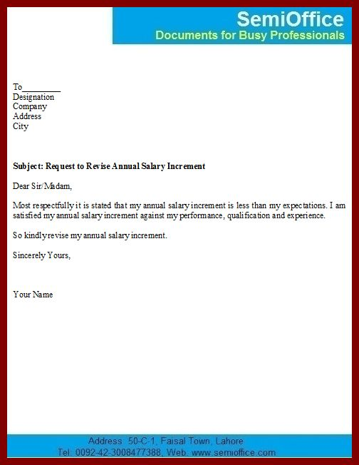 salary increment sample letter