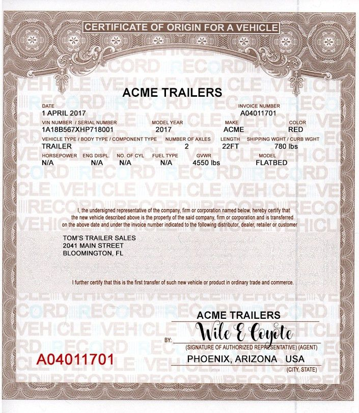 Discount MCO Manufactures Certificates of Origin Vehicles Trailers ...
