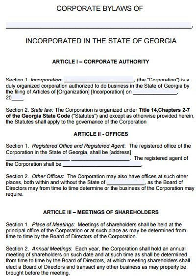 Free Georgia Corporate Bylaws Template | PDF | Word |