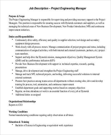 Engineer Manager Job Description Sample   8+ Examples In PDF