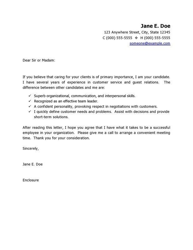 Sales Marketing and PR Cover Letter Examples with Customer Service ...