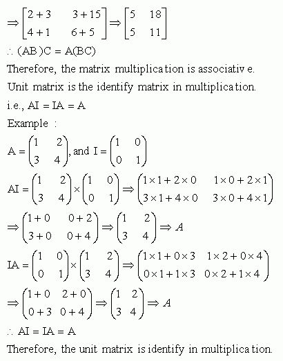 Properties of Matrices in Multiplication - High School Mathematics ...