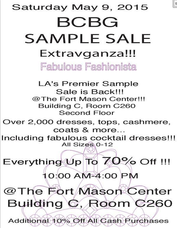 BCBG Sample Sale Cut Loose 2nds Sale SF Kidswear Sample Sale ...