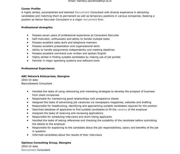 Recruiter Resume Sample Hrrecruiter Free Resume Samples Blue Sky