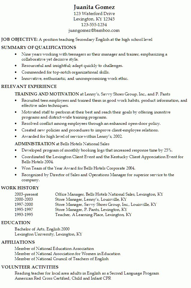 Resume for a Secondary English Teacher - Susan Ireland Resumes
