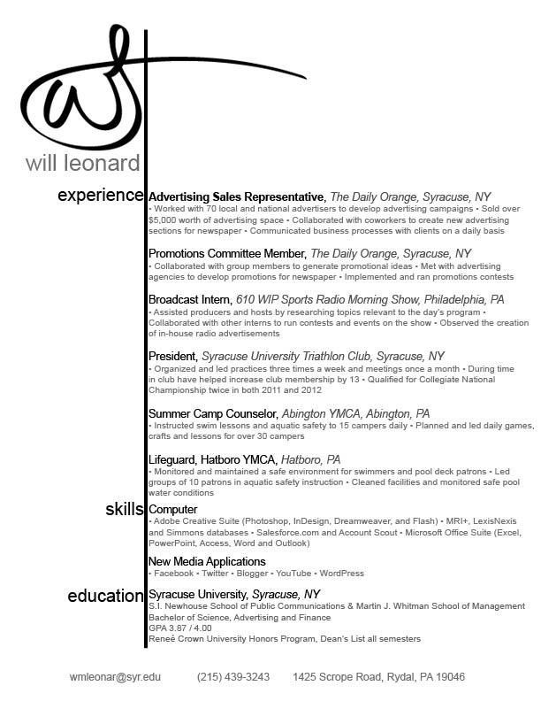 draft of a resume
