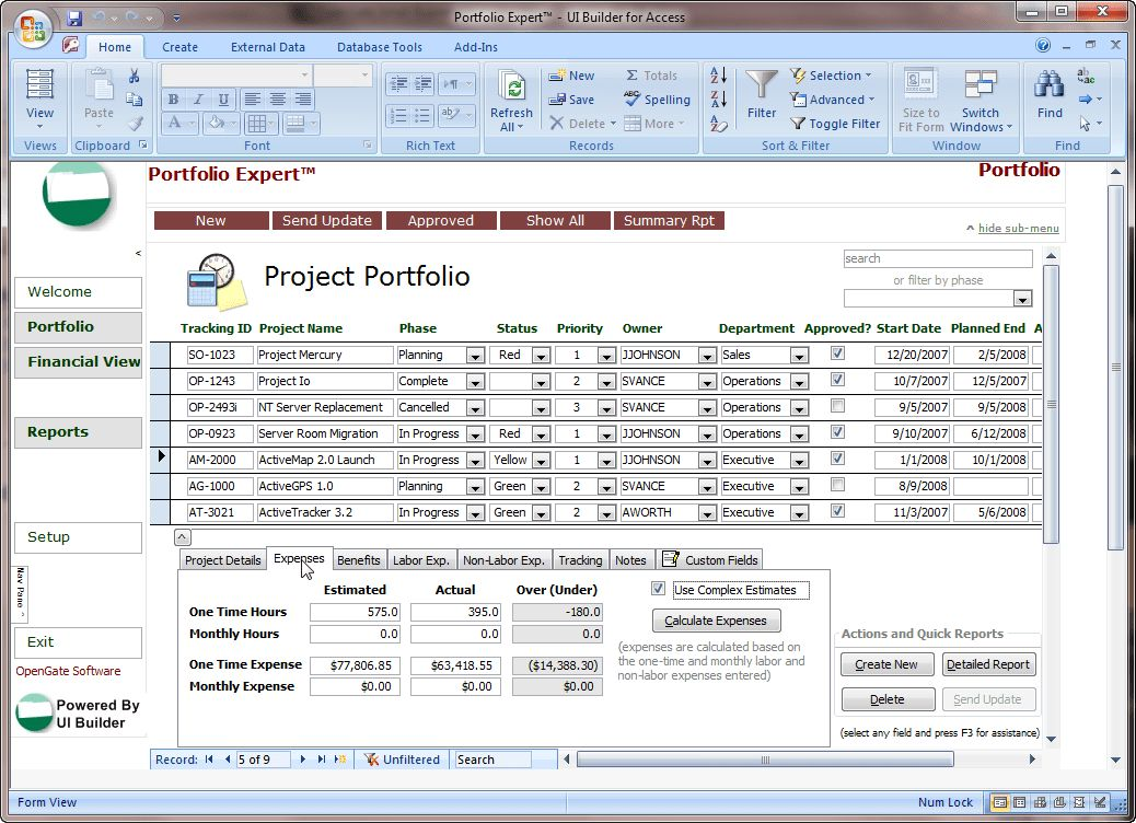 Microsoft Access Projects Template | OpenGate Software Inc