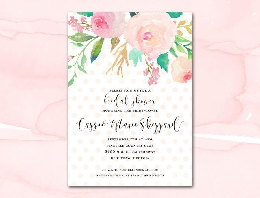 Bridal Shower Invitation Printable, Blush Watercolor Floral Polka ...