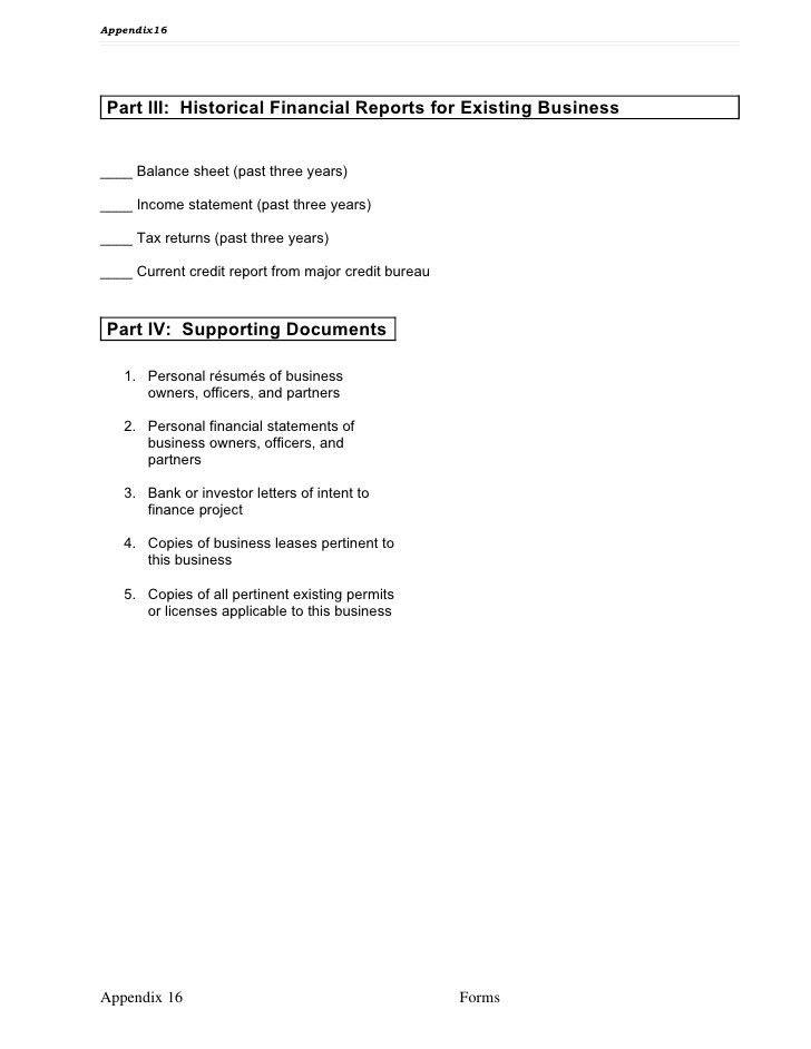 Appendix 16 sample business plan