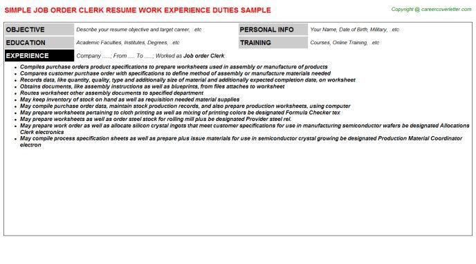 Job Order Clerk Resume Sample