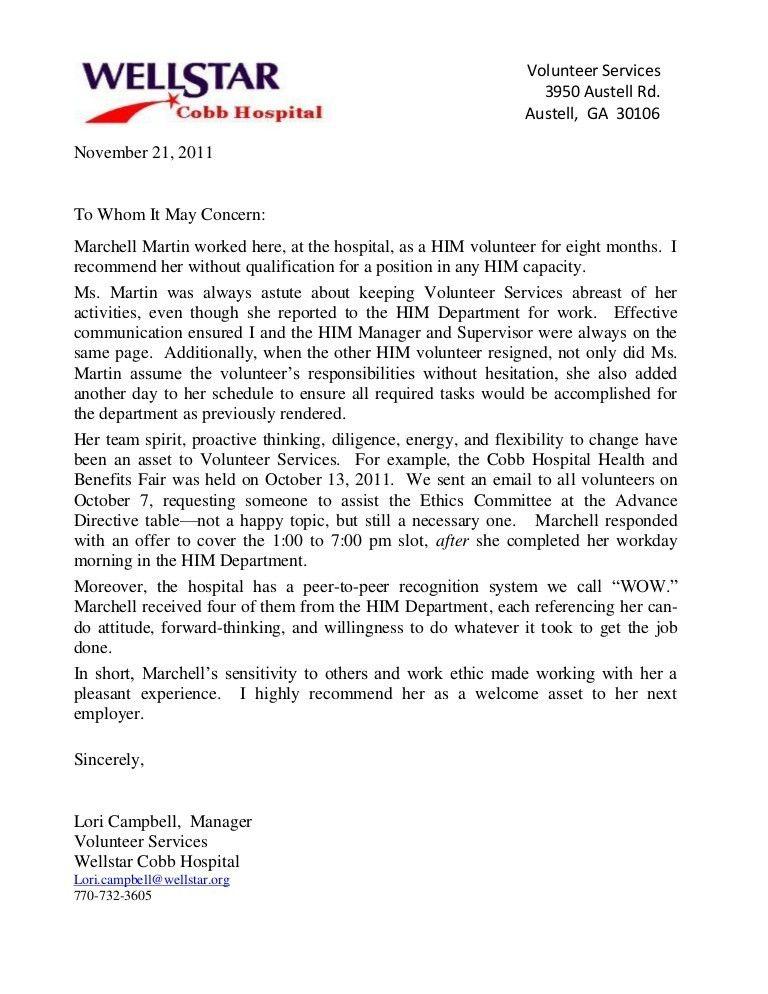 recommendation letter for volunteer. sample reference letter for ...