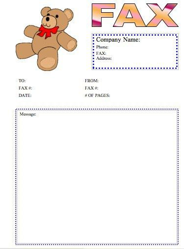 Teddy Bear Fax Cover Sheet at FreeFaxCoverSheets.net