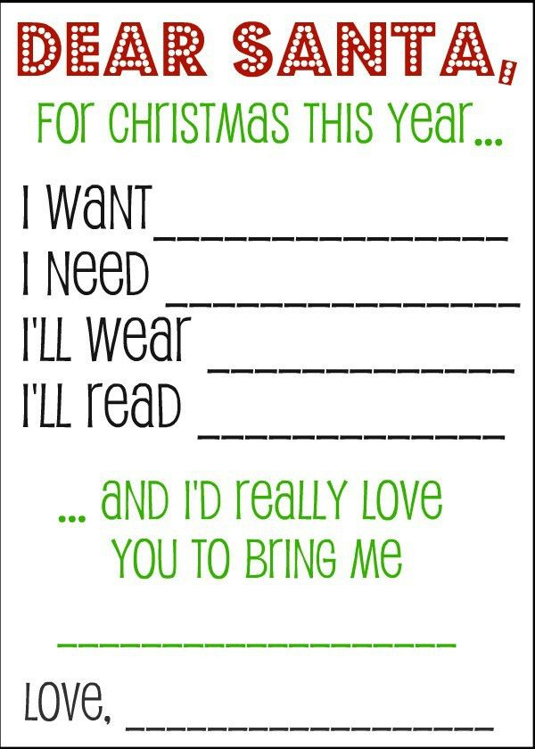 Wish List and Gift Tags | Kids s, Dear santa and Santa list