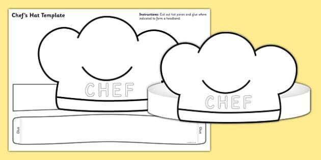 Chef Hat Template - chef hat, template, role play, chef, hat
