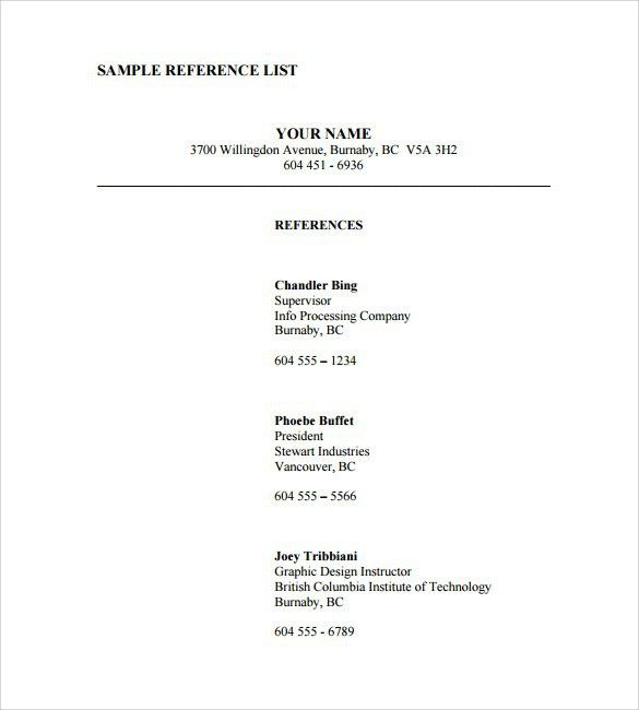 Job Reference Page Template - Business Plan Template