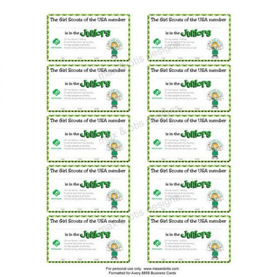 Girl Scout Juniors printable membership cards for investiture ...