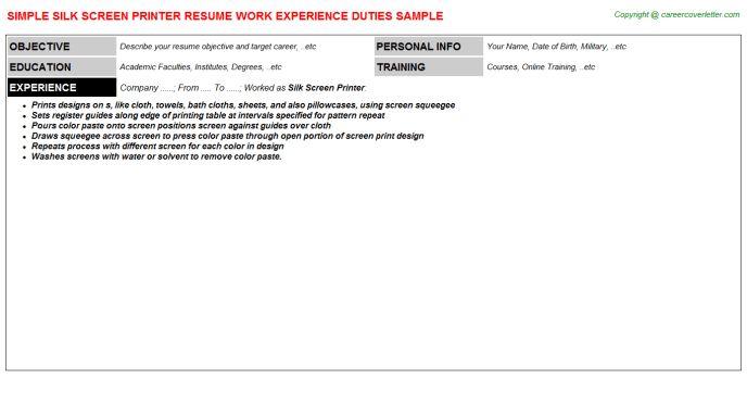 Silk Screen Printer Resume Sample