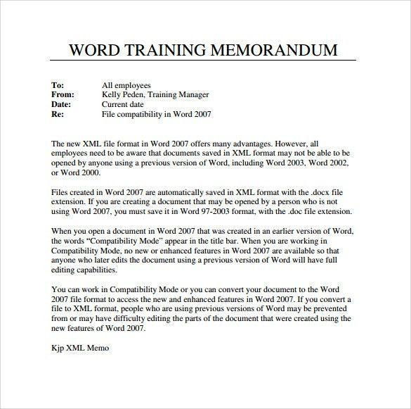 Sample Word Memo - 5+ Documents in PDF