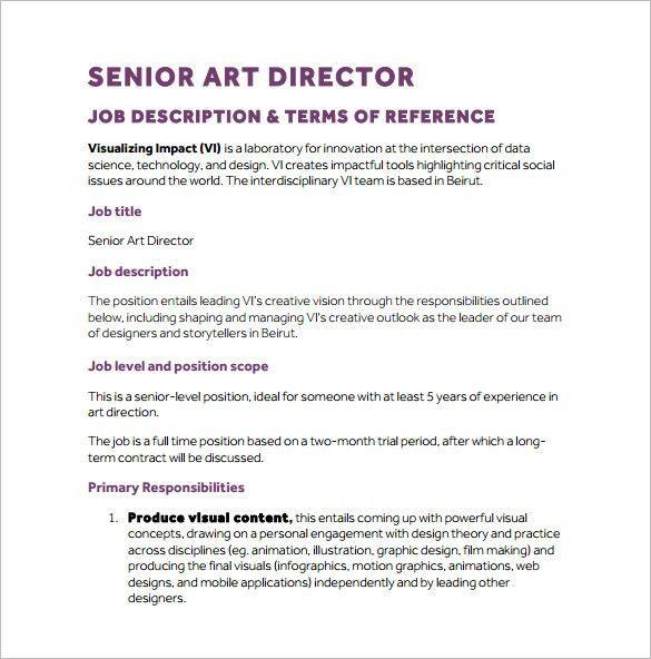 Art Director Job Description Template – 8+ Free Word, PDF Format ...