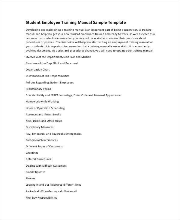 Training Manual Format Sample Training Manual 10 Documents In Pdf – Training Manual Template Word