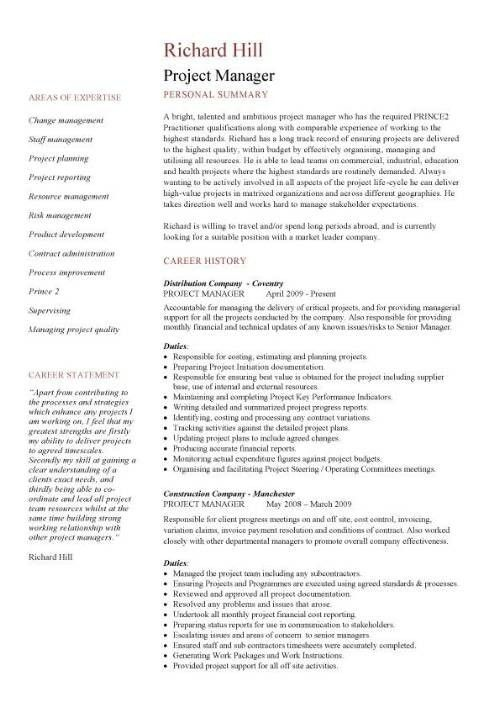 Free Resume Template For Construction Project Manager. download ...