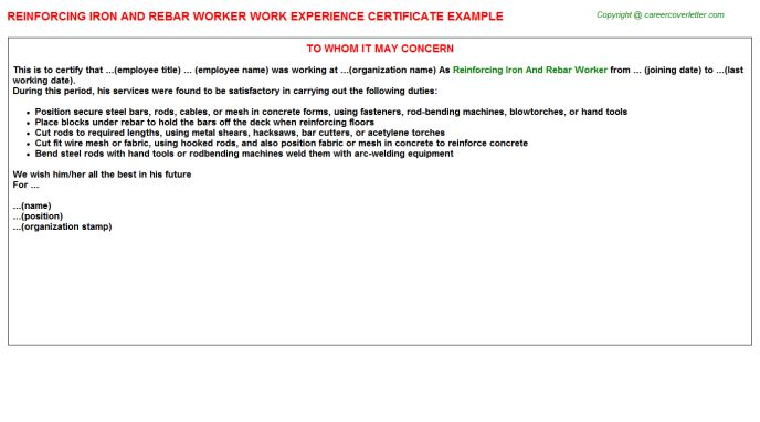 Reinforcing Iron And Rebar Worker Work Experience Certificate