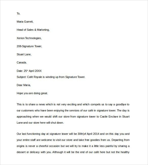 Sample Closing Business Letter - 7+ Documents in PDF, Word