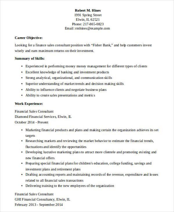 sales forecast template. financial sales consultant resume ...
