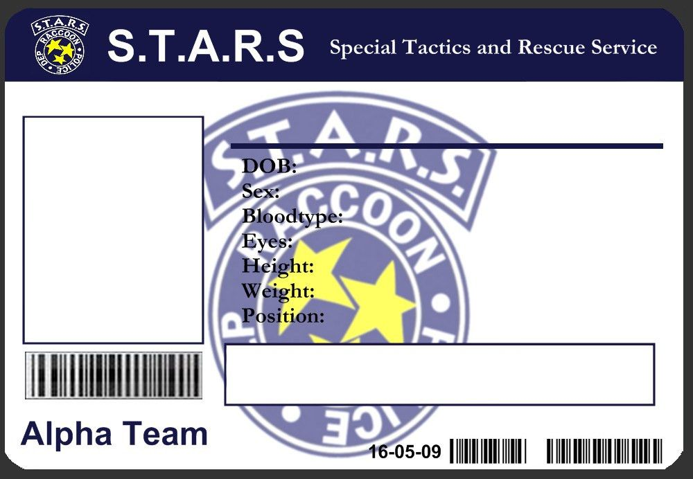 S.T.A.R.S ID Card Template by J-J-Joker on DeviantArt