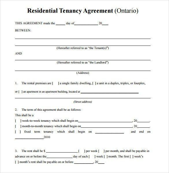 Sample Residential Rental Agreement -12+ Examples & Format