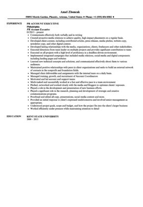 Public Relations Account Executive Resume Sample | Velvet Jobs