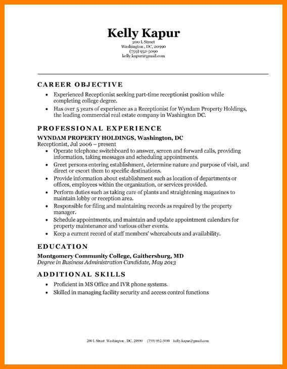 Receptionist Resumes. Template Sample Receptionist Resume Lovely ...