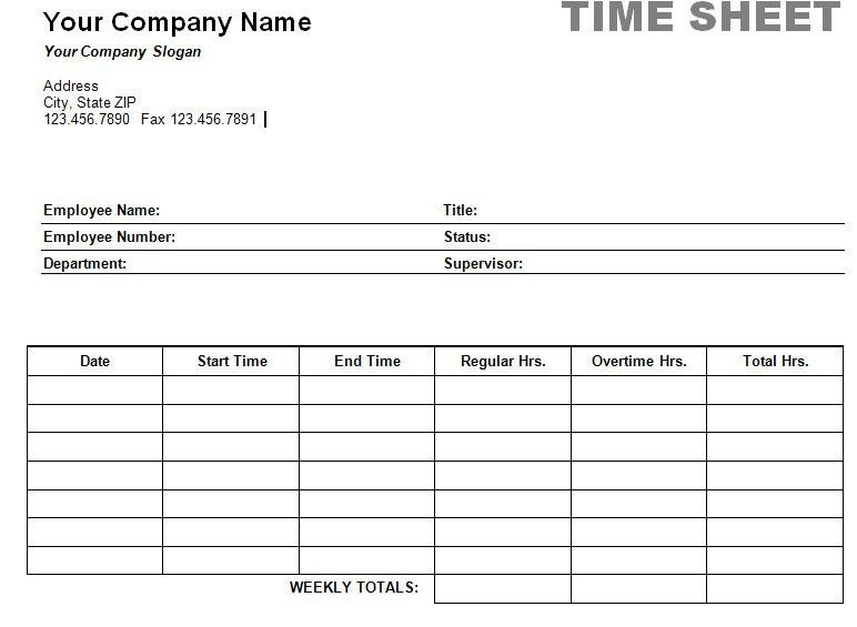 Free Printable Timesheet Templates | Printable Weekly Time Sheet ...