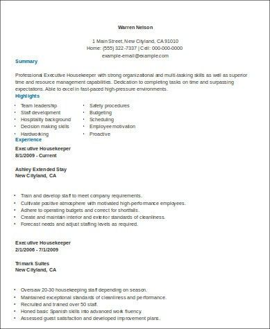Sample Housekeeper Resume - 8+ Examples in Word, PDF