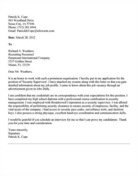 Transportation Supervisor Cover Letter Sample