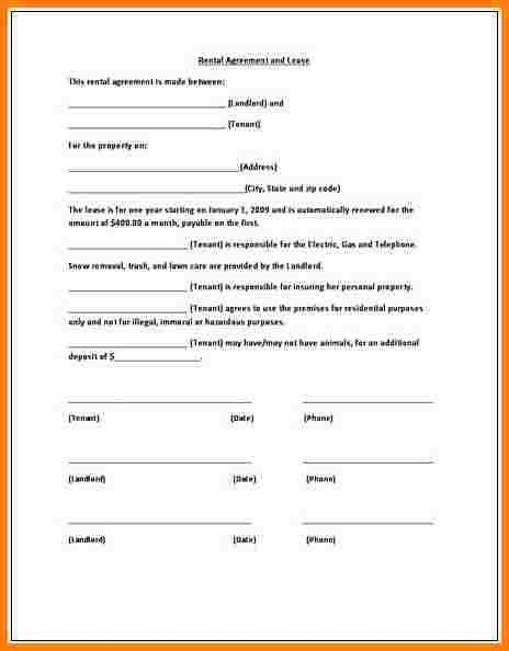 11+ Simple Lease Agreement Form   Newborneatingchart