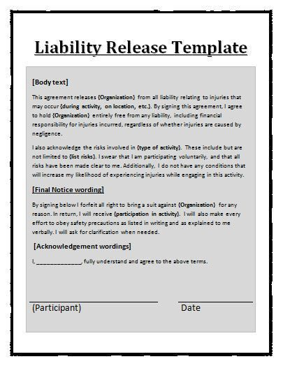 Printable Sample Release And Waiver Of Liability Agreement Form ...
