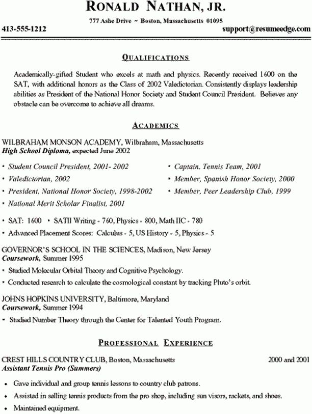 Sample High School Resume - College Admission