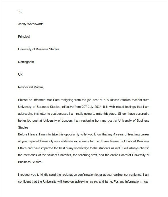 Resignation Letter : Teacher Job Resignation Letter Format I Am ...