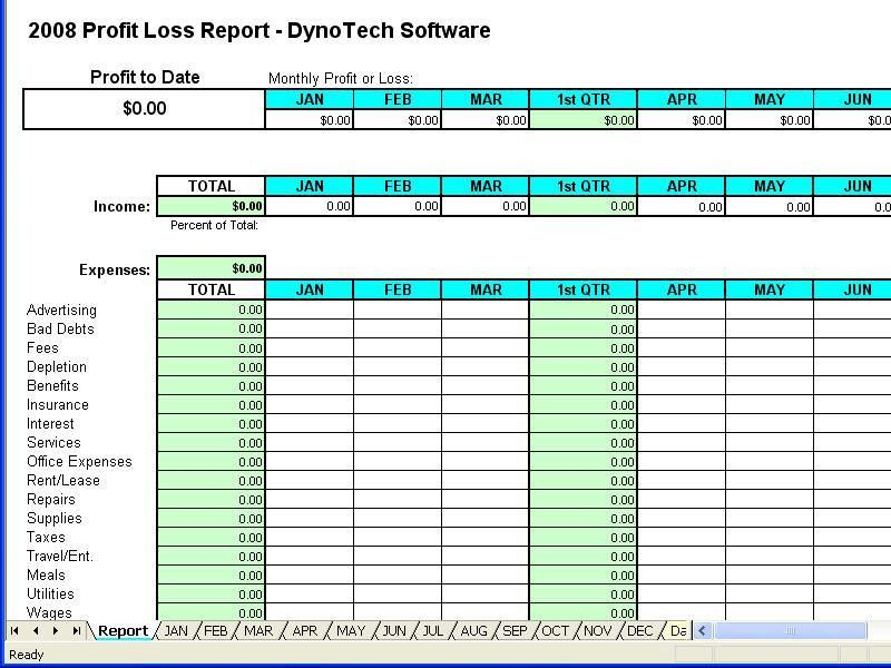 Free Printable Profit Loss Forms | Profit Loss Report Spreadsheet ...