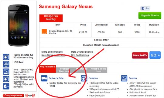 Galaxy Nexus pre-orders live in the UK, delivery date set for ...