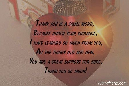 Thank you is a small word,, Thank You Notes For Boss