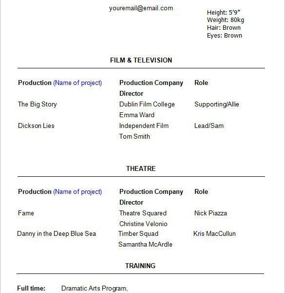 free actors resume template 10 acting resume templates free