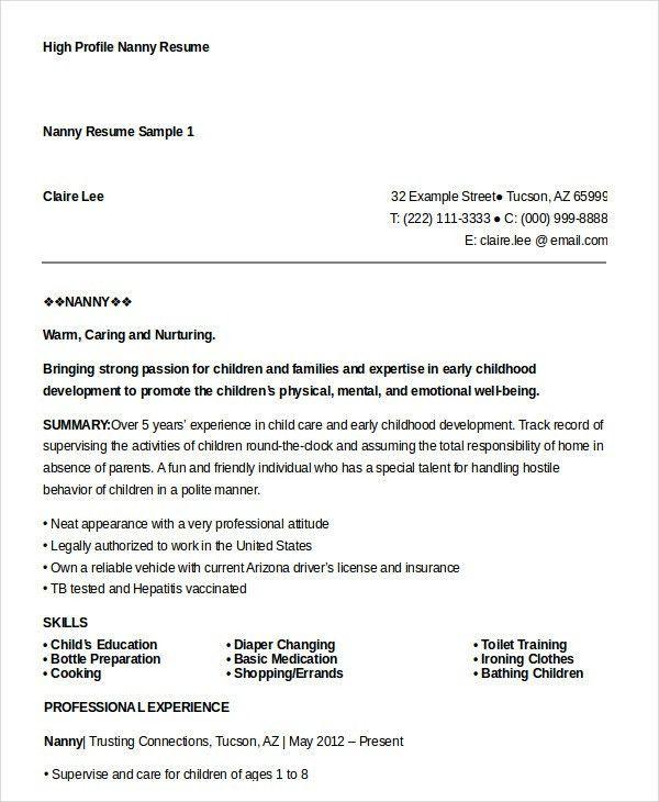 Nanny Resume - 8+ Free Sample, Example, Format | Free & Premium ...