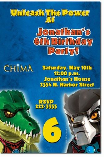 Lego Birthday Invitations, Chima Birthday Invitations, Ninjago ...