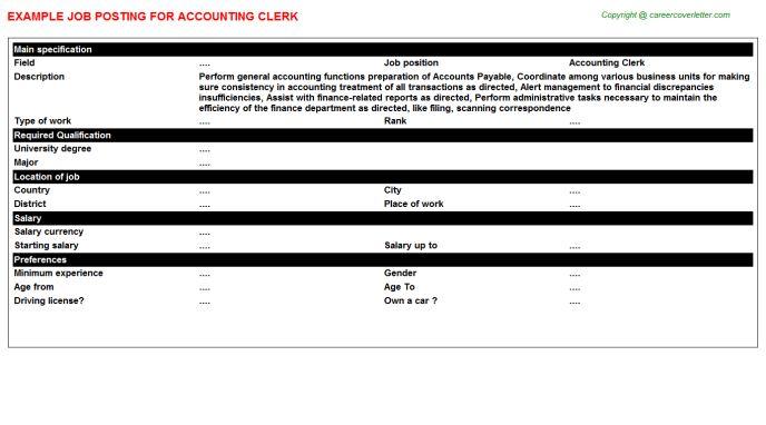 Accounting Clerk Job Posting Sample